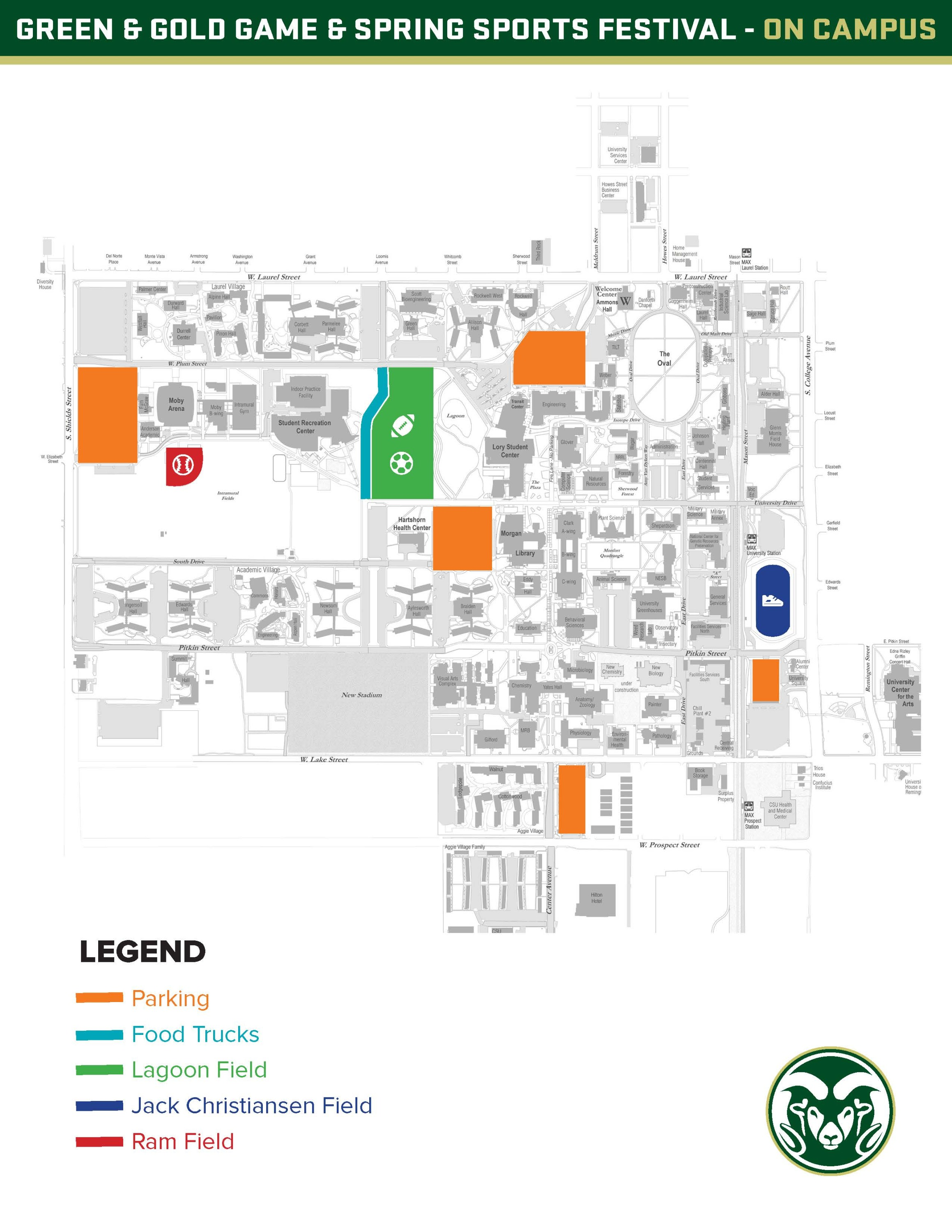 Green Gold Game And Spring Sports Festival Saturday On CSU - Csu campus map