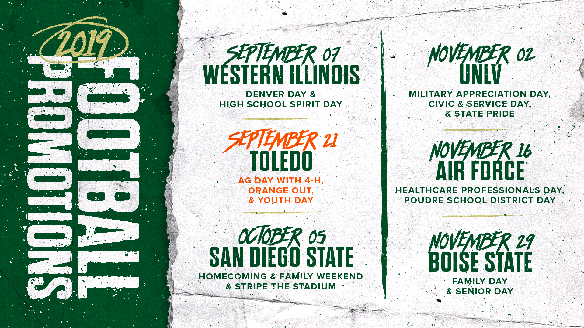 CSU announces promotions for 2019 home football games